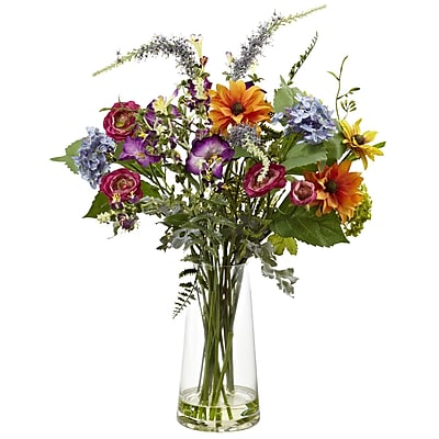 Nearly Natural 4822 Spring Garden Floral With Vase 24 x 17 inch Multi Color