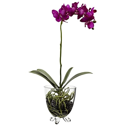 Nearly Natural 4832 Phalaenopsis Orchid Elegance Arrangement Purple & Green