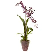 Nearly Natural 4833 Dancing Lady Orchid with Textured Vase Purple