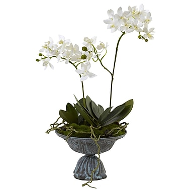 Nearly Natural 4854 Dendrobium Orchid with Metal Vase 15 x 6 inch Multi Color