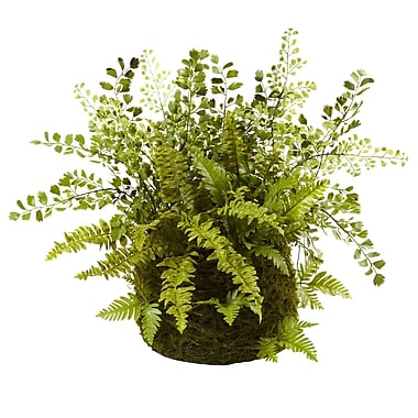 Nearly Natural 4846 Mixed Fern with Twig and Moss Basket 13 x 17 inch