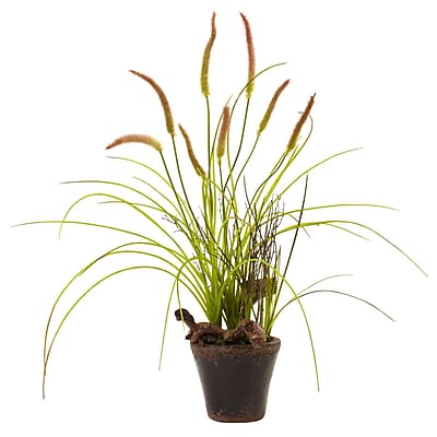 Nearly Natural 4852 Swampy Cattail Garden with Planter Green