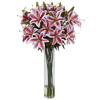 Nearly Natural 1340 Rubrum Lily with Large Cylinder Arrangement Multi Color