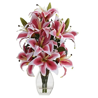 Nearly Natural 1343 Rubrum Lily with Decorative Vase Pink & White