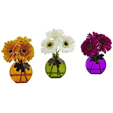 Nearly Natural 4825-S3 Gerber Daisy with Colored Vase 9 x 5.5 inch Multi Color