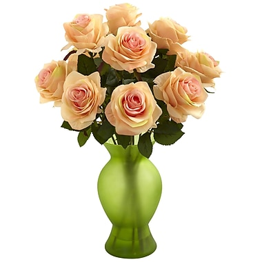 Nearly Natural 1351-PH Roses with Colored Glass Vase, Peach