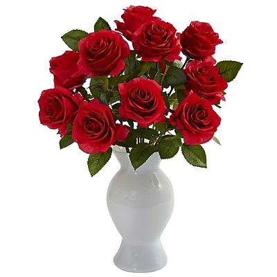Nearly Natural 1351-RD Roses with Colored Glass Vase, Red