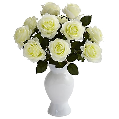 Nearly Natural 1351-WH Roses with Colored Glass Vase, White