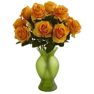 Nearly Natural 1351-OY Roses with Colored Glass Vase, Orange Yellow