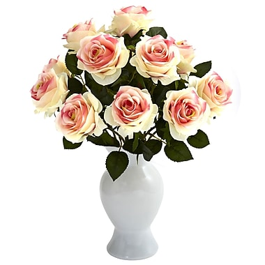 Nearly Natural 1351-LP Roses with Colored Glass Vase, Light Pink