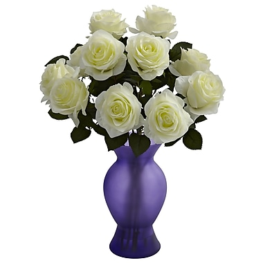 Nearly Natural 1351-WP Roses with Colored Glass Vase, White Purple