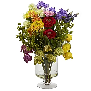 Nearly Natural 4987 Spring Floral Arrangement 16 x 12 inch Multi Color