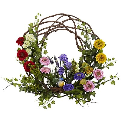 Nearly Natural 4988 Spring Floral Wreath 22 inch Multi Color