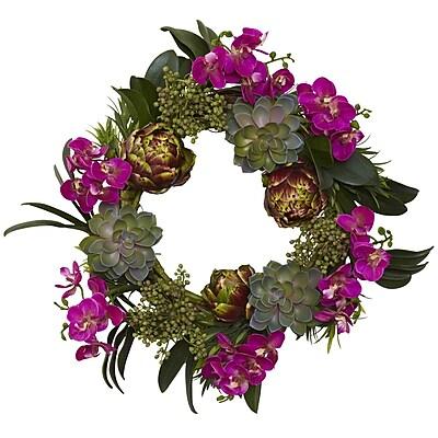 Nearly Natural 4989 Orchid, Artichoke & Succulent Wreath 20-Inch Multi Color