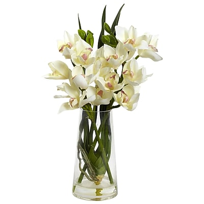 Nearly Natural 4992 Cymbidium Orchid with Vase White