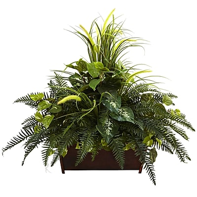 Nearly Natural 6792 Mixed Grass & River Fern with Wood Planter 36 x 37 inch