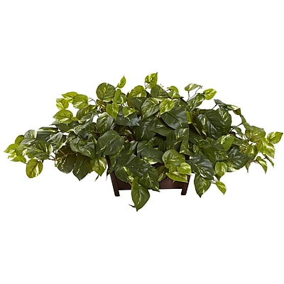 Nearly Natural 6793 Pothos w/Rectangle Decorative Planter 16 x 36 inch Green