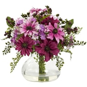 Nearly Natural Mixed Daisy Arrangement with Vase