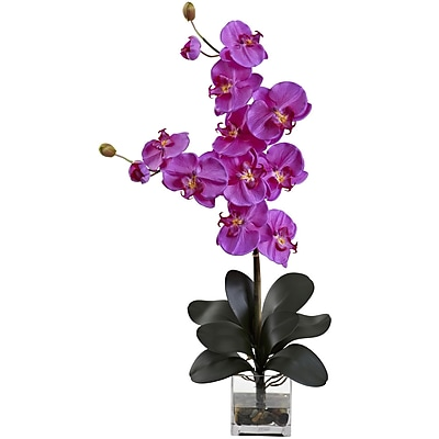 Nearly Natural 1352-OR Double Giant Phalaenopsis with Vase, Orchid