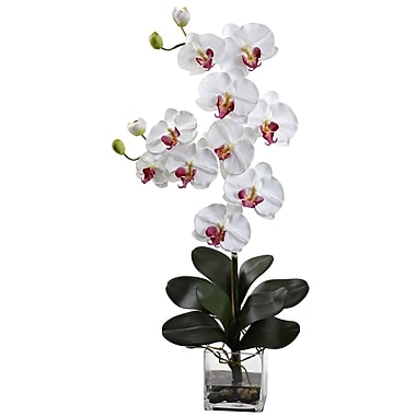 Nearly Natural 1352-WH Double Giant Phalaenopsis with Vase, White