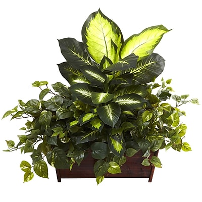 Nearly Natural 6803 Dieffenbachia, Philo & Pothos with Wood Planter Green