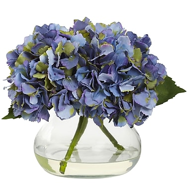 Nearly Natural Blooming Hydrangea with Vase, Blue (1356-BL)