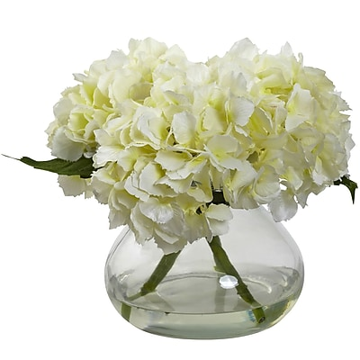 Nearly Natural 1356-CR Blooming Hydrangea with Vase, Cream