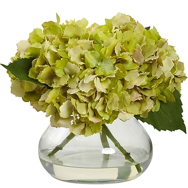 Nearly Natural Blooming Hydrangea with Vase, Green (1356-GR)