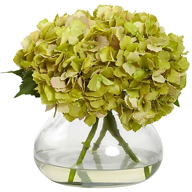 Nearly Natural Large Blooming Hydrangea with Vase, Green (1357-GR)