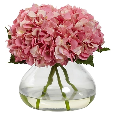 Nearly Natural 1357-PK Large Blooming Hydrangea with Vase, Pink