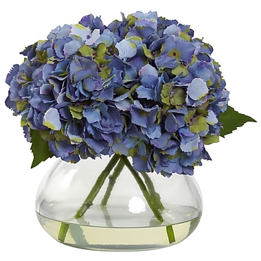 Nearly Natural Large Blooming Hydrangea with Vase, Blue (1357-BL)