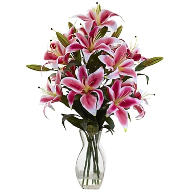 Nearly Natural 1359 Rubrum Lily Arrangement Multi Color