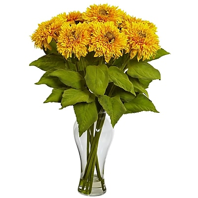 Nearly Natural 1360-YL Sunflower Arrangement, Yellow