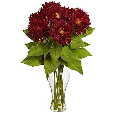 Nearly Natural 1360-RD Sunflower Arrangement, Red