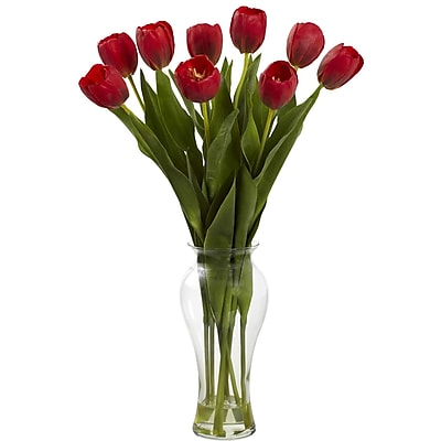 Nearly Natural 1361-RD Tulips with Vase 24 x 16 inch Red