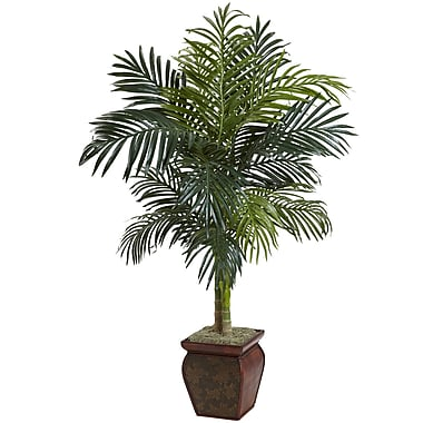 Nearly Natural 5937 Cane Palm with Decorative Container 54 x 40 inch Multi
