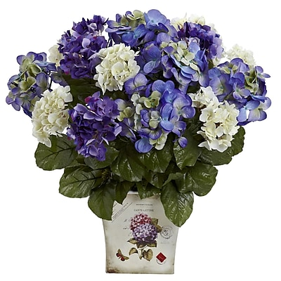Nearly Natural 1378-BP Mixed Hydrangea with Floral Planter Blue & Purple