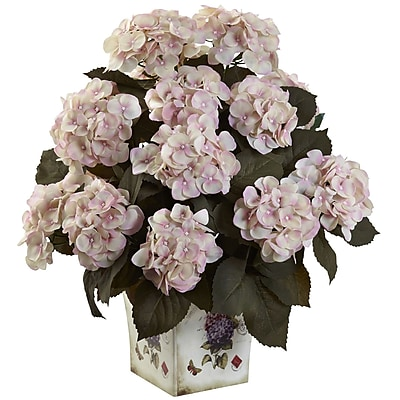 Nearly Natural 1396-CP Hydrangea with Large Floral Planter, Cream Pink