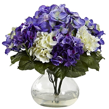 Nearly Natural 1364-BP Mixed Hydrangea Blue & Purple, 11 x 12-inch