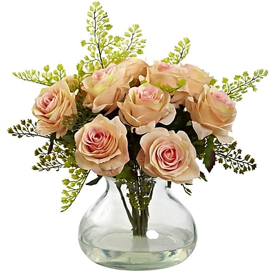 Nearly Natural 1366-PH Rose & Maiden Hair Arrangement With Vase 14 x 14 inch,