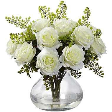 Nearly Natural Rose & Maiden Hair Arrangement With Vase 14 x 14 inch, (1366-WH)