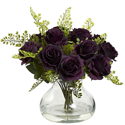 Nearly Natural 1366-PE Rose & Maiden Hair Arrangement With Vase 14 x 14 inch,