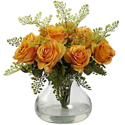 Nearly Natural 1366-OY Rose & Maiden Hair Arrangement With Vase 14 x 14 inch,
