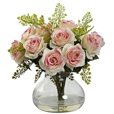 Nearly Natural 1366-LP Rose & Maiden Hair Arrangement With Vase 14 x 14 inch,