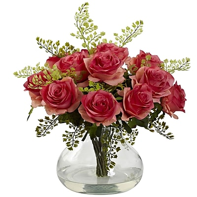 Nearly Natural 1366-DP Rose & Maiden Hair Arrangement With Vase 14 x 14 inch,