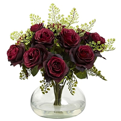 Nearly Natural 1366-BG Rose & Maiden Hair Arrangement With Vase 14 x 14 inch,