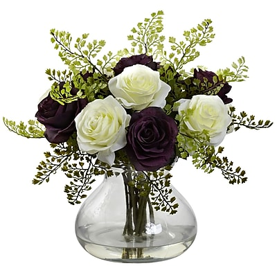 Nearly Natural 1366-PW Rose & Maiden Hair Arrangement With Vase 14 x 14 inch,