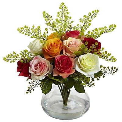 Nearly Natural 1366-AS Rose & Maiden Hair Arrangement With Vase 14 x 14 inch,