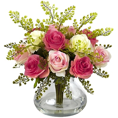 Nearly Natural 1366-AP Rose & Maiden Hair Arrangement With Vase 14 x 14 inch,
