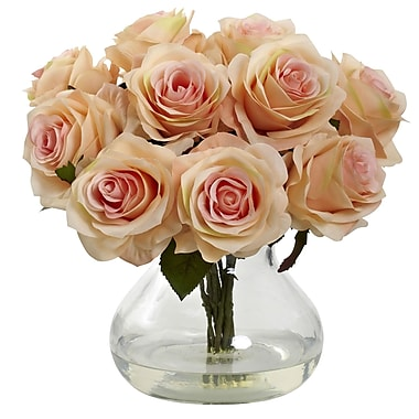 Nearly Natural Rose Arrangement with Vase, Peach (1367-PH)